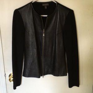 Black leather front jacket